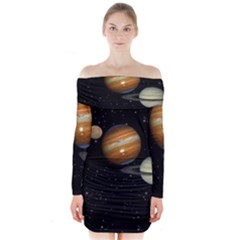 Outer Space Planets Solar System Long Sleeve Off Shoulder Dress