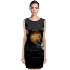 Outer Space Planets Solar System Sleeveless Velvet Midi Dress