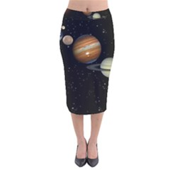 Outer Space Planets Solar System Velvet Midi Pencil Skirt