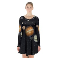 Outer Space Planets Solar System Long Sleeve Velvet V Neck Dress