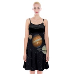 Outer Space Planets Solar System Spaghetti Strap Velvet Dress