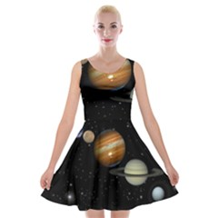 Outer Space Planets Solar System Velvet Skater Dress