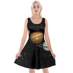 Outer Space Planets Solar System Reversible Velvet Sleeveless Dress