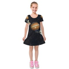 Outer Space Planets Solar System Kids  Short Sleeve Velvet Dress