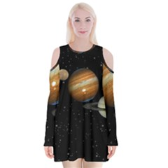 Outer Space Planets Solar System Velvet Long Sleeve Shoulder Cutout Dress