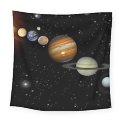 Outer Space Planets Solar System Square Tapestry (large)