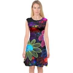 Nice 3d Flower Capsleeve Midi Dress