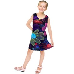 Nice 3d Flower Kids  Tunic Dress