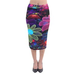 Nice 3d Flower Velvet Midi Pencil Skirt