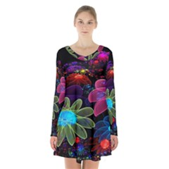 Nice 3d Flower Long Sleeve Velvet V Neck Dress