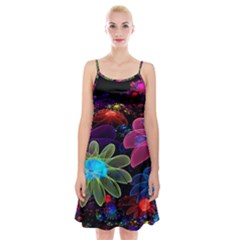 Nice 3d Flower Spaghetti Strap Velvet Dress