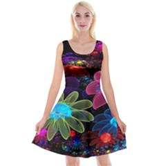Nice 3d Flower Reversible Velvet Sleeveless Dress
