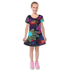 Nice 3d Flower Kids  Short Sleeve Velvet Dress