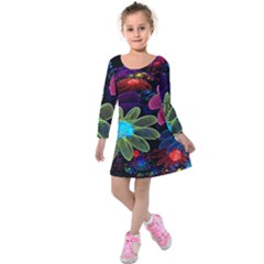 Nice 3d Flower Kids  Long Sleeve Velvet Dress