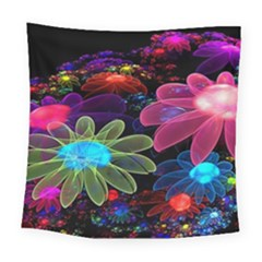 Nice 3d Flower Square Tapestry (large)