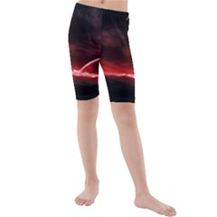 Outer Space Red Stars Star Kids  Mid Length Swim Shorts