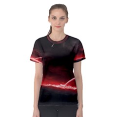 Outer Space Red Stars Star Women s Sport Mesh Tee