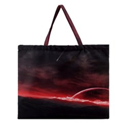 Outer Space Red Stars Star Zipper Large Tote Bag
