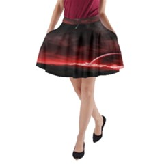 Outer Space Red Stars Star A-Line Pocket Skirt