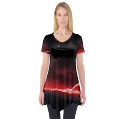 Outer Space Red Stars Star Short Sleeve Tunic