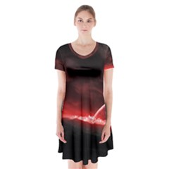 Outer Space Red Stars Star Short Sleeve V-neck Flare Dress