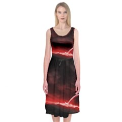 Outer Space Red Stars Star Midi Sleeveless Dress