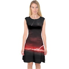 Outer Space Red Stars Star Capsleeve Midi Dress
