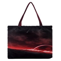 Outer Space Red Stars Star Medium Zipper Tote Bag