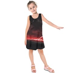 Outer Space Red Stars Star Kids  Sleeveless Dress