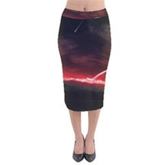 Outer Space Red Stars Star Velvet Midi Pencil Skirt