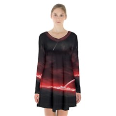 Outer Space Red Stars Star Long Sleeve Velvet V Neck Dress