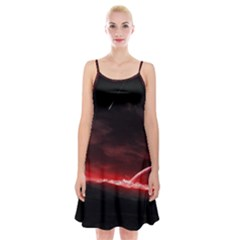 Outer Space Red Stars Star Spaghetti Strap Velvet Dress