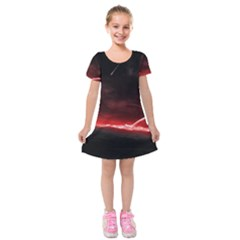 Outer Space Red Stars Star Kids  Short Sleeve Velvet Dress