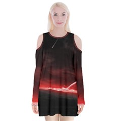 Outer Space Red Stars Star Velvet Long Sleeve Shoulder Cutout Dress