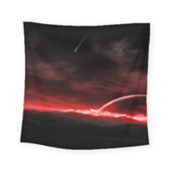Outer Space Red Stars Star Square Tapestry (Small)