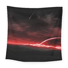Outer Space Red Stars Star Square Tapestry (Large)