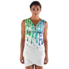 Paint Drops Artistic Wrap Front Bodycon Dress