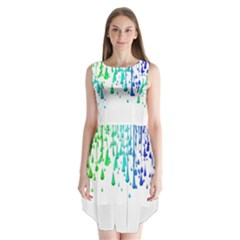 Paint Drops Artistic Sleeveless Chiffon Dress
