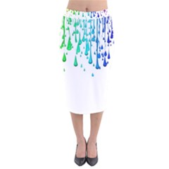 Paint Drops Artistic Velvet Midi Pencil Skirt