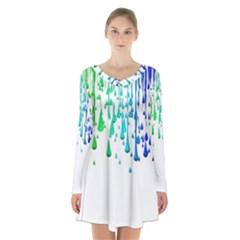 Paint Drops Artistic Long Sleeve Velvet V Neck Dress