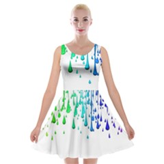 Paint Drops Artistic Velvet Skater Dress