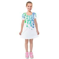 Paint Drops Artistic Kids  Short Sleeve Velvet Dress