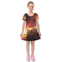 Pirate Ship Caribbean Kids  Short Sleeve Velvet Dress