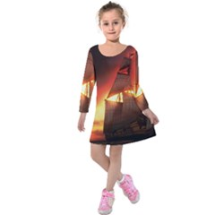 Pirate Ship Caribbean Kids  Long Sleeve Velvet Dress