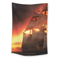 Pirate Ship Caribbean Large Tapestry