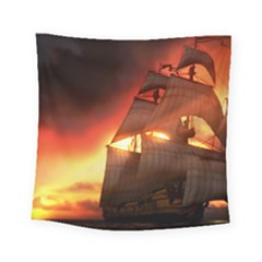 Pirate Ship Caribbean Square Tapestry (Small)