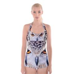 Owl Face Boyleg Halter Swimsuit