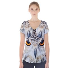Owl Face Short Sleeve Front Detail Top