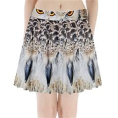 Owl Face Pleated Mini Skirt