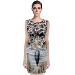 Owl Face Sleeveless Velvet Midi Dress